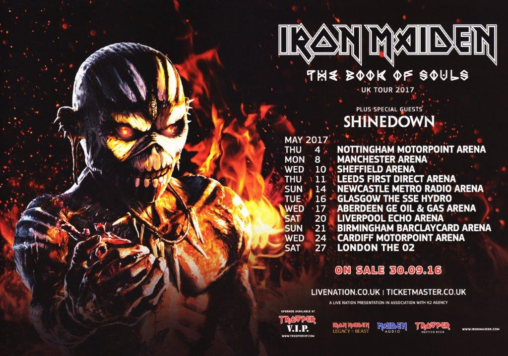 Iron Maiden The Book Of Souls 2017 Uk Tour Poster Prints4u
